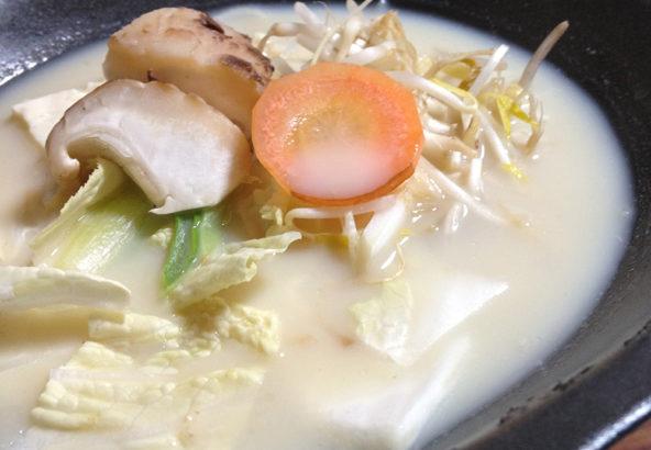 郷土料理「飛鳥鍋」。牛乳と白味噌のコクが絶品。